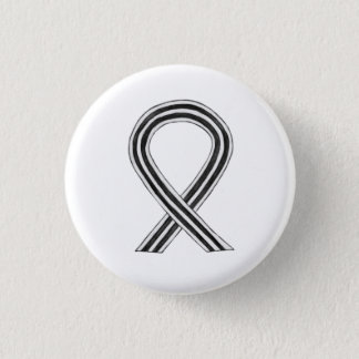 White and Black Awareness Ribbon Angel Pin Buttons