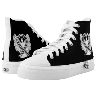 White and Black Awareness Ribbon Angel Shoes