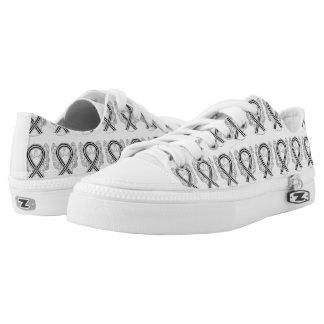 White and Black Awareness Ribbon Angel Sneakers