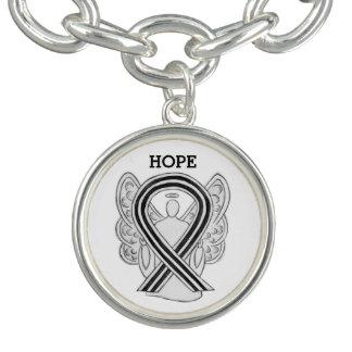 White and Black Awareness Ribbon Charm Bracelet