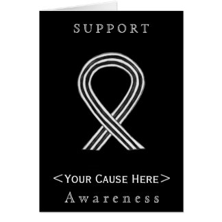 White and Black Awareness Ribbon Custom Card