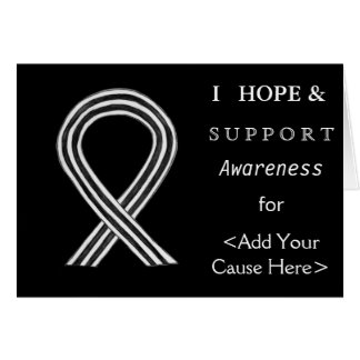 White and Black Awareness Ribbon  Greeting Cards