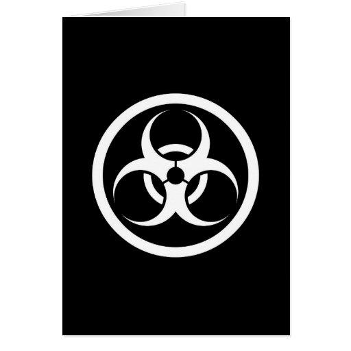 White and Black Bio Hazard Circle Cards
