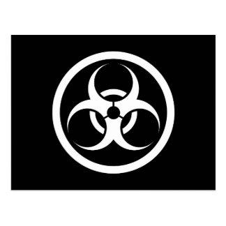 White and Black Bio Hazard Circle Post Card