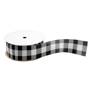 White and Black Buffalo Check Plaid - Ribbon Grosgrain Ribbon