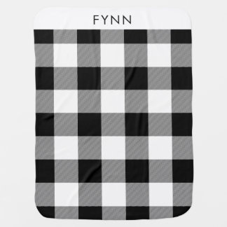 White and Black Buffalo Plaid Baby Blanket