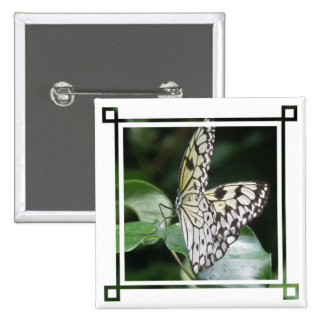 White and Black Butterfly Square Button