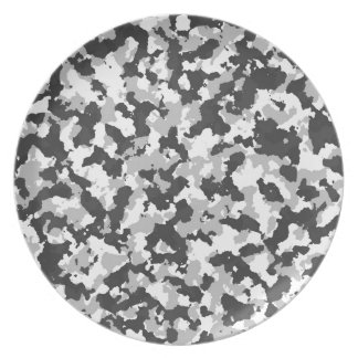 White and Black Camo pattern Plates