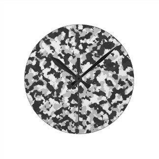 White and Black Camo pattern Round Clock