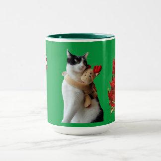 White and Black Cat & Reindeer Christmas Toy Mug