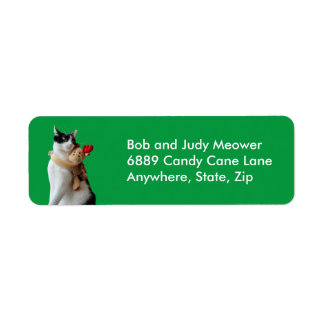 White and Black Cat & Reindeer Christmas Toy Return Address Label