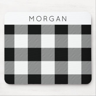 White and Black Check Mouse Pad