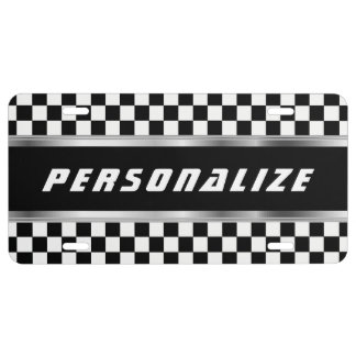 White and Black Checkered Pattern | Personalize License Plate