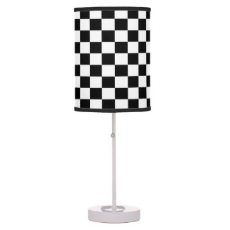 White and Black Checkered Shaded Lamp