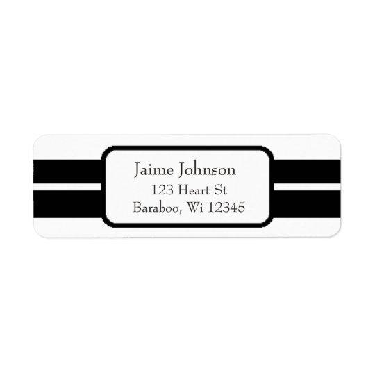 White and Black Classy  Return Address Sticker