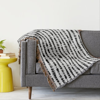 White and Black Contemporary Tribal Stripes Throw Blanket