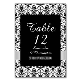 White and black damask card