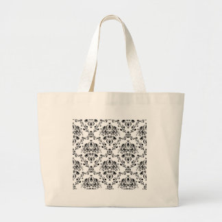White and Black Damask Large Tote Bag