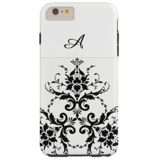 White and  black damask phone case