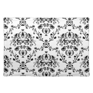 White and Black Damask Place Mat