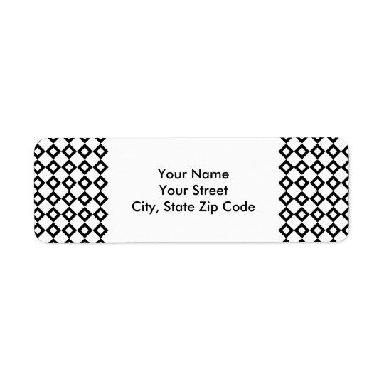 White and Black Diamond Pattern address label