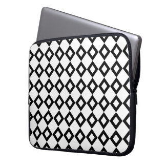 White and Black Diamond Pattern Laptop Sleeve