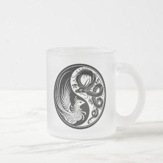 White and Black Dragon Phoenix Yin Yang Mugs