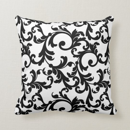 White and Black Elegant Damask Throw Pillow