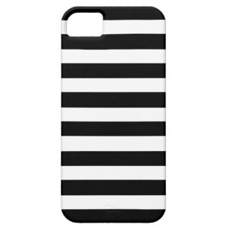 White And Black Elegant Horizontal Stripes Pattern iPhone 5 Covers