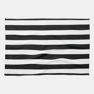 White And Black Elegant Horizontal Stripes Pattern Kitchen Towel