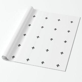 White and Black Fleur De Lis Wrapping Paper