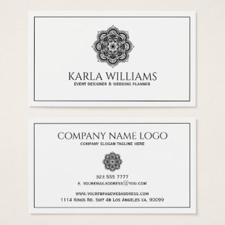 White And Black Floral Mandala Business Card