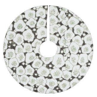 White and Black Flower Asian Art Print Pattern Brushed Polyester Tree Skirt