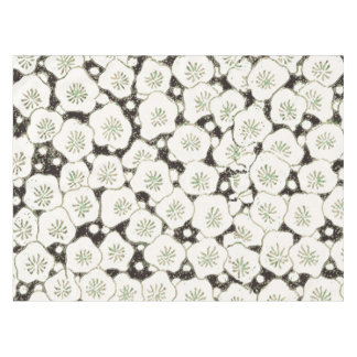 White and Black Flower Asian Art Print Pattern Tablecloth