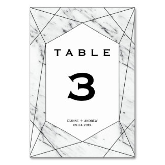 White and Black Geometric Marble Table Number
