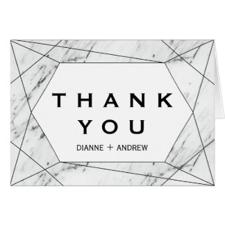 White and Black Geometric Marble Thank You Card