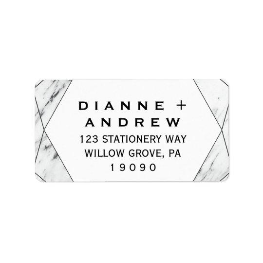 White and Black Geometric Marble Wedding Label