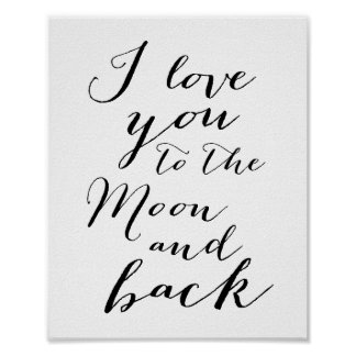 White And Black I Love You Poster Matte 8x10