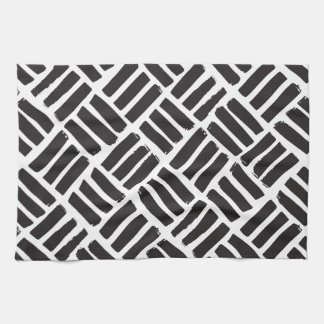 White and Black Ink Strokes Grid Towels