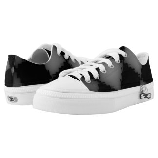 White and Black Jagged Checks Low-Top Sneakers
