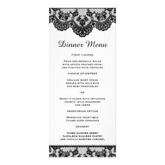 White and Black Lace Slim Dinner Menu Rack Card