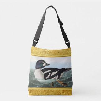 White and Black mallard ducks swimming in water Crossbody Bag