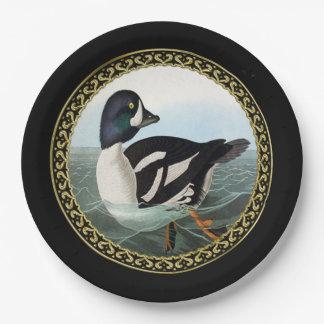 White and Black mallard ducks swimming in water Paper Plate