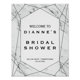 White and Black Marble Bridal Shower Welcome Poster