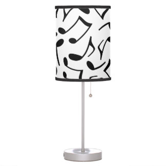White and Black Music Notes Table Lamp