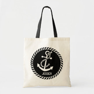 White And Black Nautical Anchor 2 Tote Bag