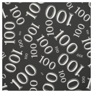 White and Black Number 100 Typography Pattern Fabric