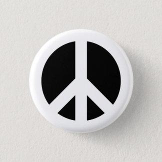 White and Black Peace Symbol 1 Inch Round Button