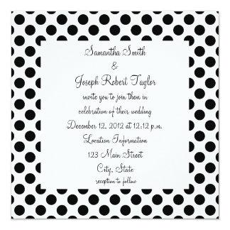 "White and Black Polka Dot Wedding 5.25"" Square Invitation Card"