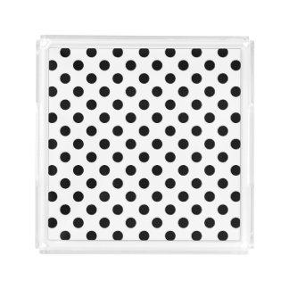 White and Black Polka Dots Acrylic Tray